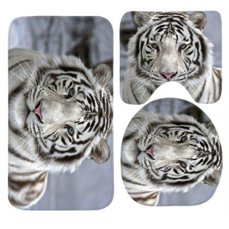 Chaplle White Tiger 3 Piece Bathroom Rugs Set Bath Rug