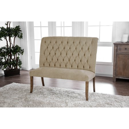 Furniture of America Harrington Beige Scroll Back Button Tufted Dining Bench