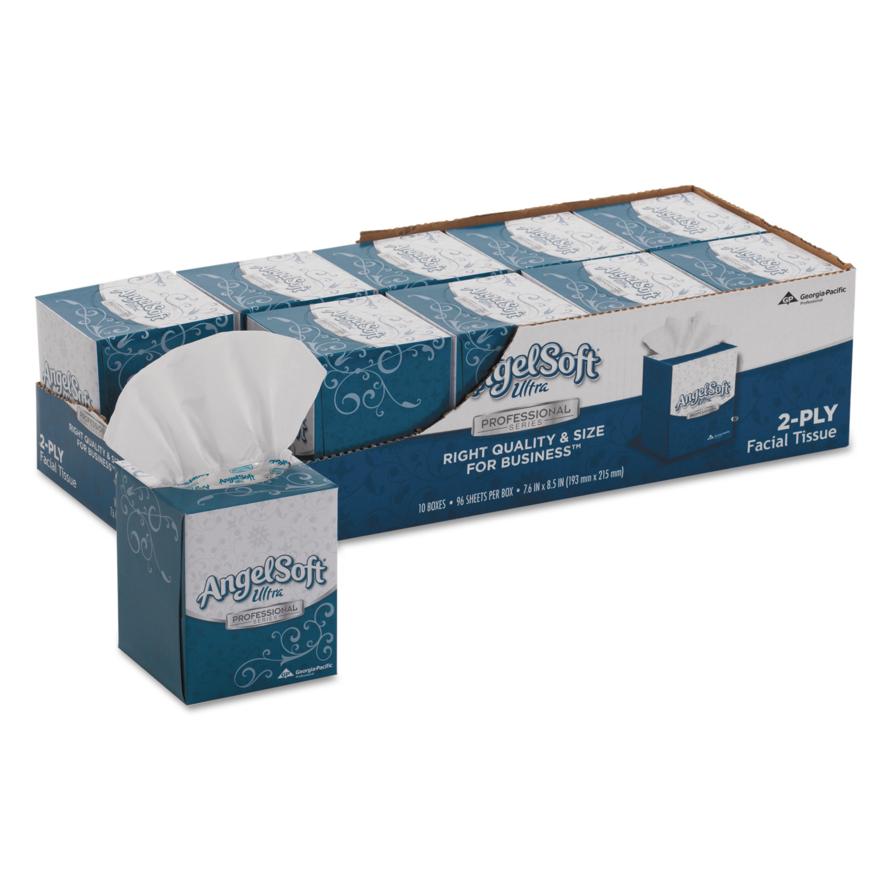 Angel Soft ps Ultra Facial Tissue, 2-Ply, White, 7 3/5 x 8 1/2, 96/Box, 10 Boxes/Carton