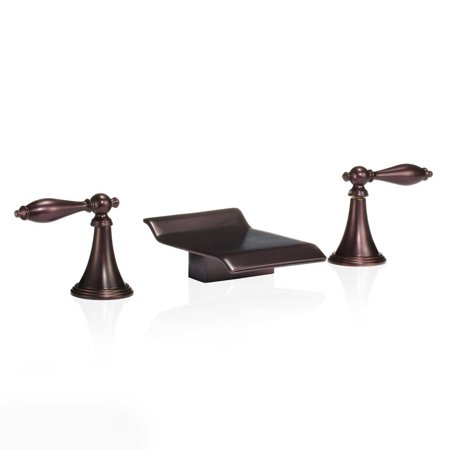 FREUER Scaffale Collection: Widespread Waterfall Bathroom Sink Faucet, Oil Rubbed (Widespread Sink Set)