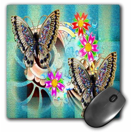 3dRose Butterfly Dance Pretty flowers and gem filled butterflies fantasy art, Mouse Pad, 8 by 8 (Flowers Pad)