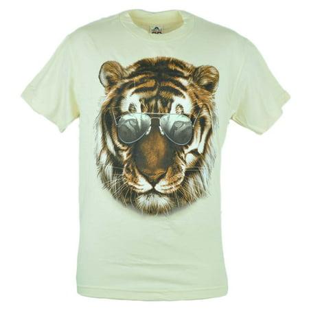 Aviator Tiger Shades Cool Animal Graphic Tshirt Tee Beige Men Adult Shirt -