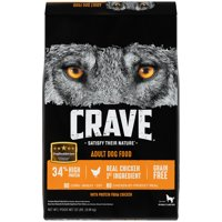 CRAVE Grain Free Adult Dry Dog Food with Protein from Chicken, 22 lb. Bag