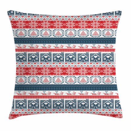 Nordic Throw Pillow Cushion Cover, Scandinavian Inspirations Winter Cross Stitch Gingerbread House Tree Sleigh, Decorative Square Accent Pillow Case, 18 X 18 Inches, Dark Blue Red White, by Ambesonne