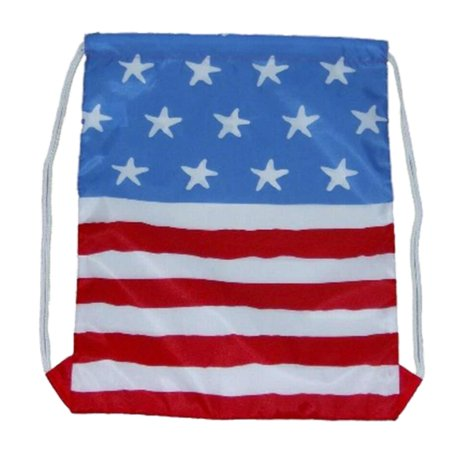 Peanuts American Flag Draw String Cinch Bag Fabric Lightweight Tote Sack