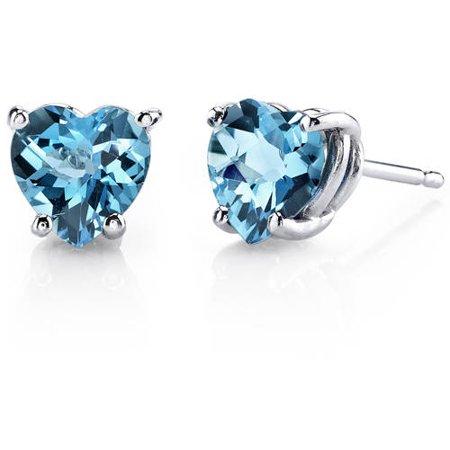 1.75 Carat Heart-Cut Swiss Blue Topaz 14kt White Gold Stud Earrings