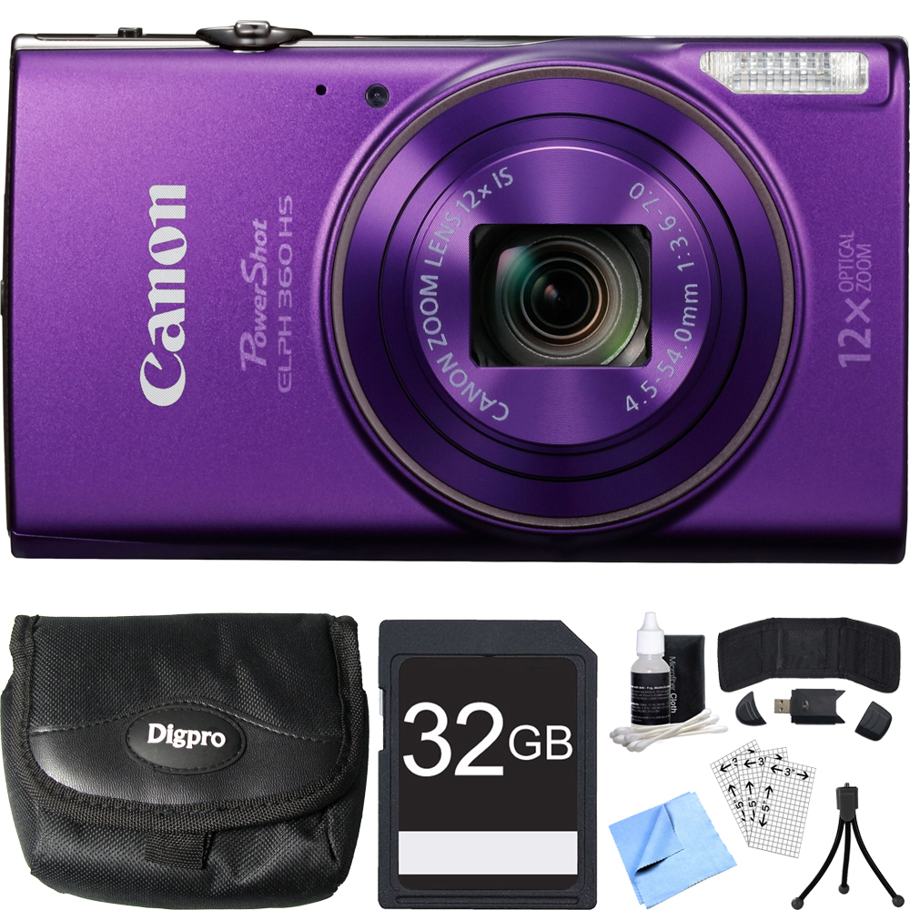 Canon PowerShot ELPH 360 HS Purple Digital Camera 32GB Card Bundle includes Camera, 32GB Memory Card, Reader, Wallet, Case, Mini Tripod, Screen Protectors, Cleaning Kit and Beach Camera Cloth