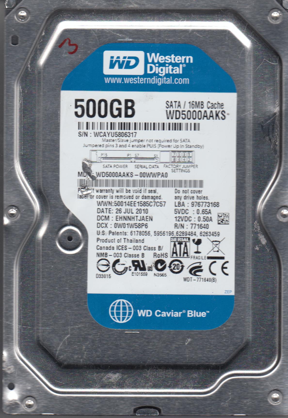 WD5000AAKS-00WWPA0, DCM EHNNHTJAEN, Western Digital 500GB SATA 3.5 Hard Drive by WD