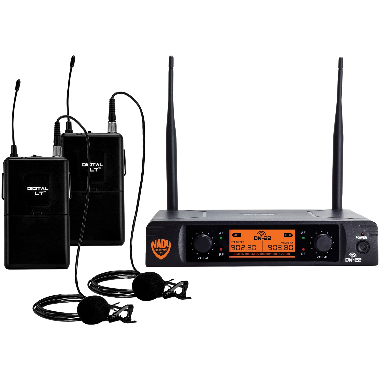 Nady DW-22-LT-ANY Dual-Transmitter Digital Wireless Microphone System (2 Digital LT LM-14/O lapel microphones)
