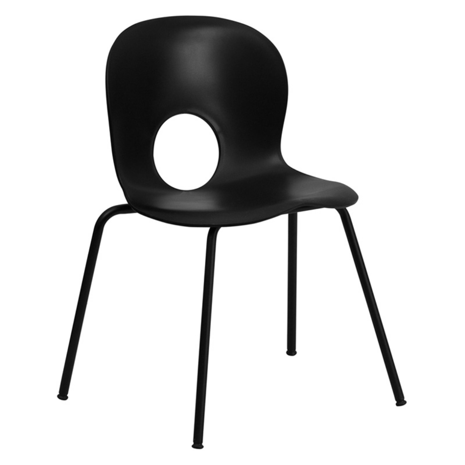 Flash Furniture HERCULES Series 770 lb Capacity Designer Plastic Stack Chair with Black Frame, Multiple Colors