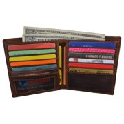 RFID Men's Distress Vintage Leather Men's Slim Hipster Bifold Euro Wallet by Cazoro