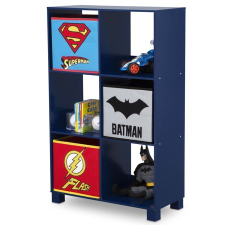 DC Comics Justice League 6 Cubby Deluxe Storage Unit (3 Bonus Fabric Bins Included)