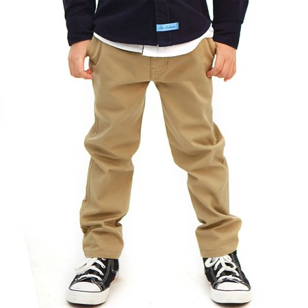 Boys Navy Linen Trousers (Leo&Lily Boys Kids 100% Cotton Twill Elastic Waist Regular Fit Pants Trousers (Khaki,10))