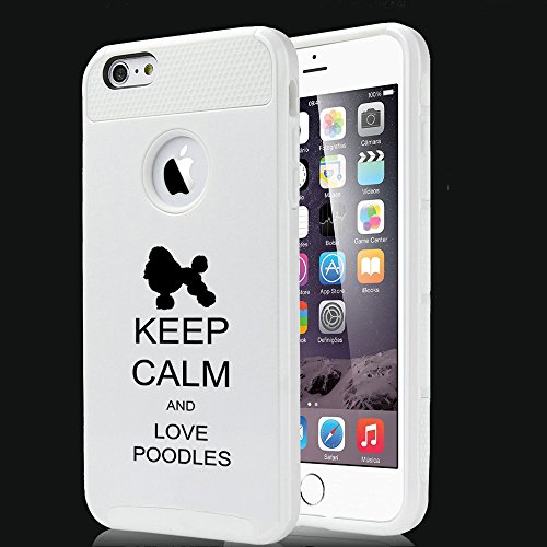 For Apple iPhone 7 Shockproof Impact Hard Soft Case Cover Keep Calm And Love Poodles (White)