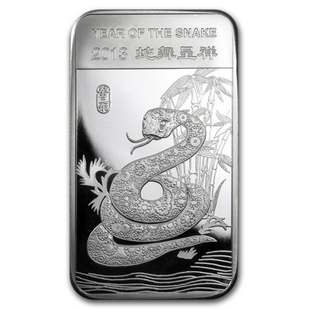 5 oz Silver Bar - APMEX (2013 Year of the Snake) (2013 Year Of The Snake Silver Proof Coins)