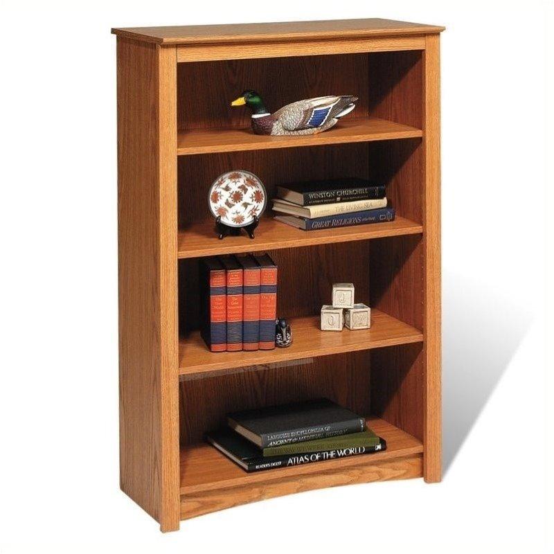Pemberly Row 4 Shelf Wood Bookshelf in Oak