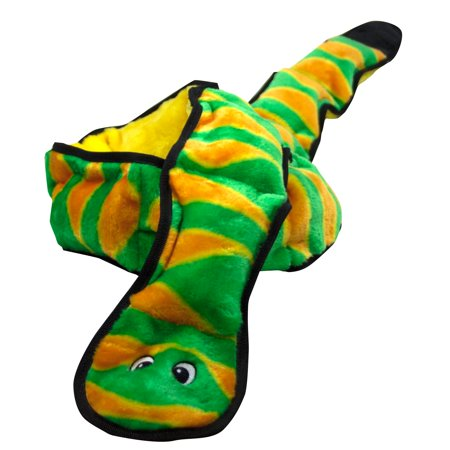 Invincibles Squeaking Dog Toy, Durable Tough Plush Snake, 12 Squeakers, Green - Dog Plush Toys