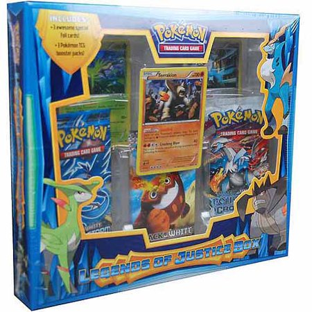 Pokemon Trading Card Game:  Legends of Justice Box Your Foes Fears Will Be Justified with the Pokemon TCG: Legends of Justice BoxThe three Legendary Pokemon of JusticeCobalion, Terrakion, and Virizion are finally united in the outstanding Pokemon TCG: Legends of Justice Box!This great collection includes 3 Pokemon TCG booster packs and 3 awesome special foil Pokemon cards. These great cards feature the recently discovered Legendary Pokemon, ready to gallop into battle! With their amazing strength, speed, and steel, these Pokemon make sure your opponents face a final reckoning when you bring the Legends of Justice box to battle!The Pokemon TCG: Legends of Justice Box includes 3 Pokemon TCG booster packs 3 special foil cards: Cobalion, Terrakion, Virizion