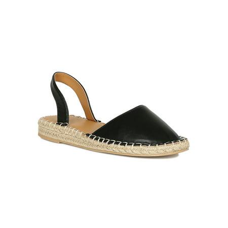 Women Vegan Leather Round Toe Slingback Espadrille Flat (Turn Back Prime Vegan Flat In Marigold)