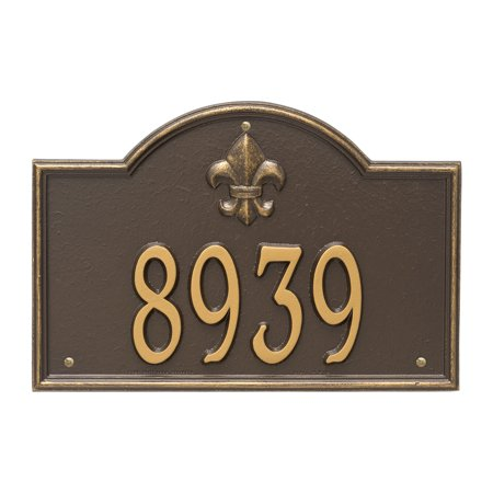 Personalized Whitehall Products Bayou Vista Standard 1 Line House Numbers Plaque In Bronze Gold