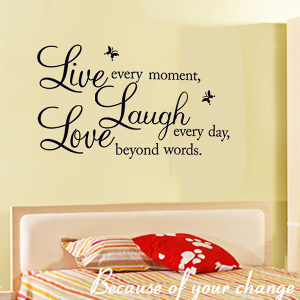 Outgeek Wall Stickers Creative Laugh Letter Butterfly Decor ...