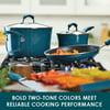 Rachael Ray 14-Piece Classic Bright's Hard Enamel Nonstick Pots and Pans Set, Cookware Set, Marine Blue