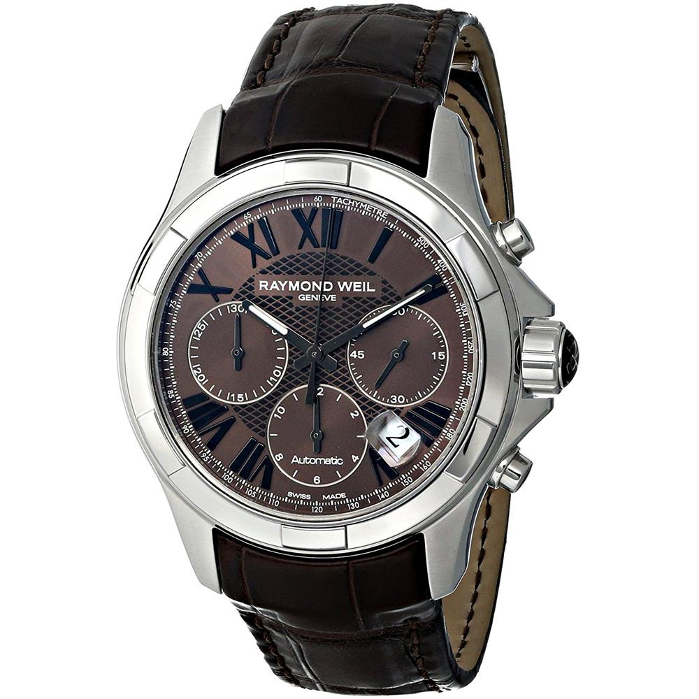 Raymond Weil Men's 40mm Brown Synthetic Leather Band Stee...