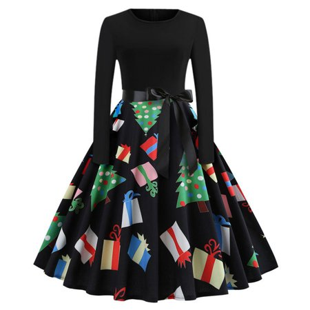 Mosunx Women's Vintage Print Long Sleeve Christmas Evening Party Swing Dress - Easy Christmas Characters To Dress Up As