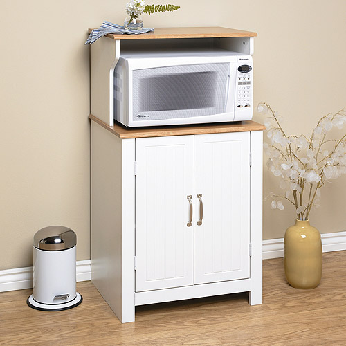 Shaker Style Microwave Cart, White and Oak
