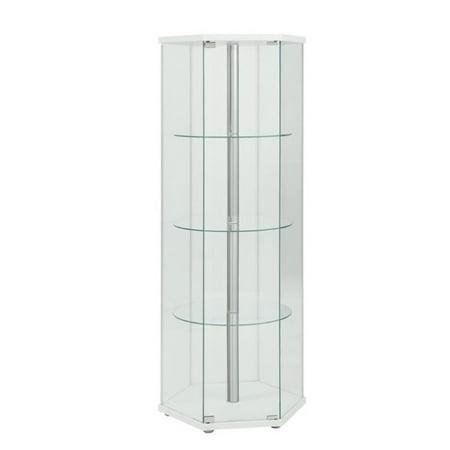 Bowery Hill 4 Shelf Glass Hexagon Curio Cabinet in