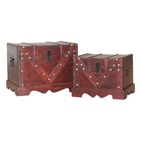 Set of 2 Wooden Treasure Box, Old Style Decorative Treasure Chest with Lockable Latch - Chest Box