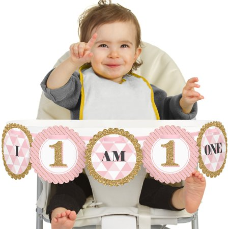 High Chair Banner (Fun to be One - 1st Birthday Girl -  I Am One - First Birthday High Chair)