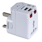 QVS Premium World Travel Power Adaptor with Surge Protection & 2.1A Dual-USB Charger
