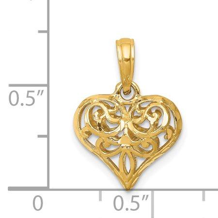14k Yellow Gold 3 D Filigree Heart Pendant Charm Necklace Love Fleur De Lis Fine Jewelry Gifts For Women For Her - image 5 de 6
