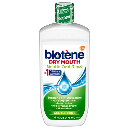 Biotene Gentle Mild Mint Moisturizing Oral Rinse Mouthwash for Dry Mouth, 16 ounce