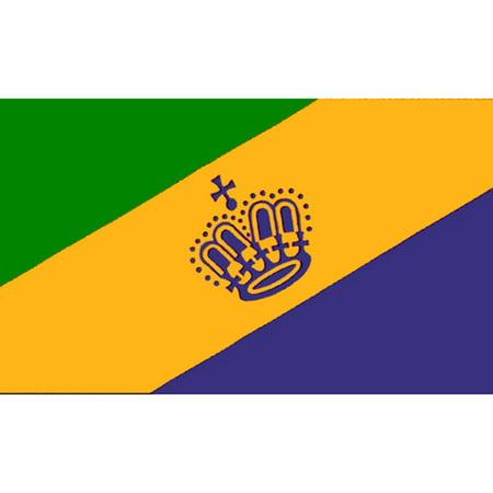 Mardi Gras Flag with Grommets 3ft x 5ft - Mardi Gras Flag