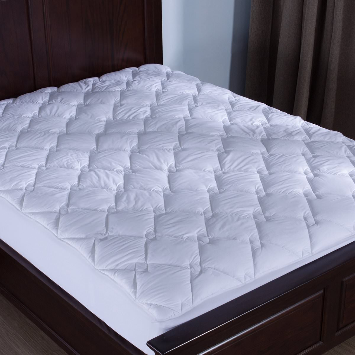 Puredown Down Alternative Mattress Pad/Topper-Quilted-100% Cotton Top, Rhombic Pattern, Full Size