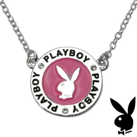 Playboy Necklace Bunny Charm Pink Enamel Medallion Pendant Swarovski Crystals