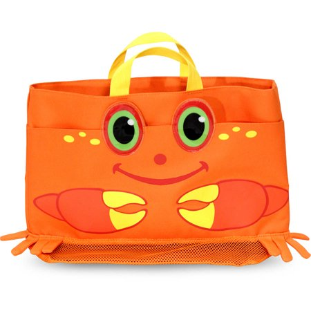 Sunny Patch Clicker Crab Large Beach Tote Bag with Mesh - Mesh Tote Bag
