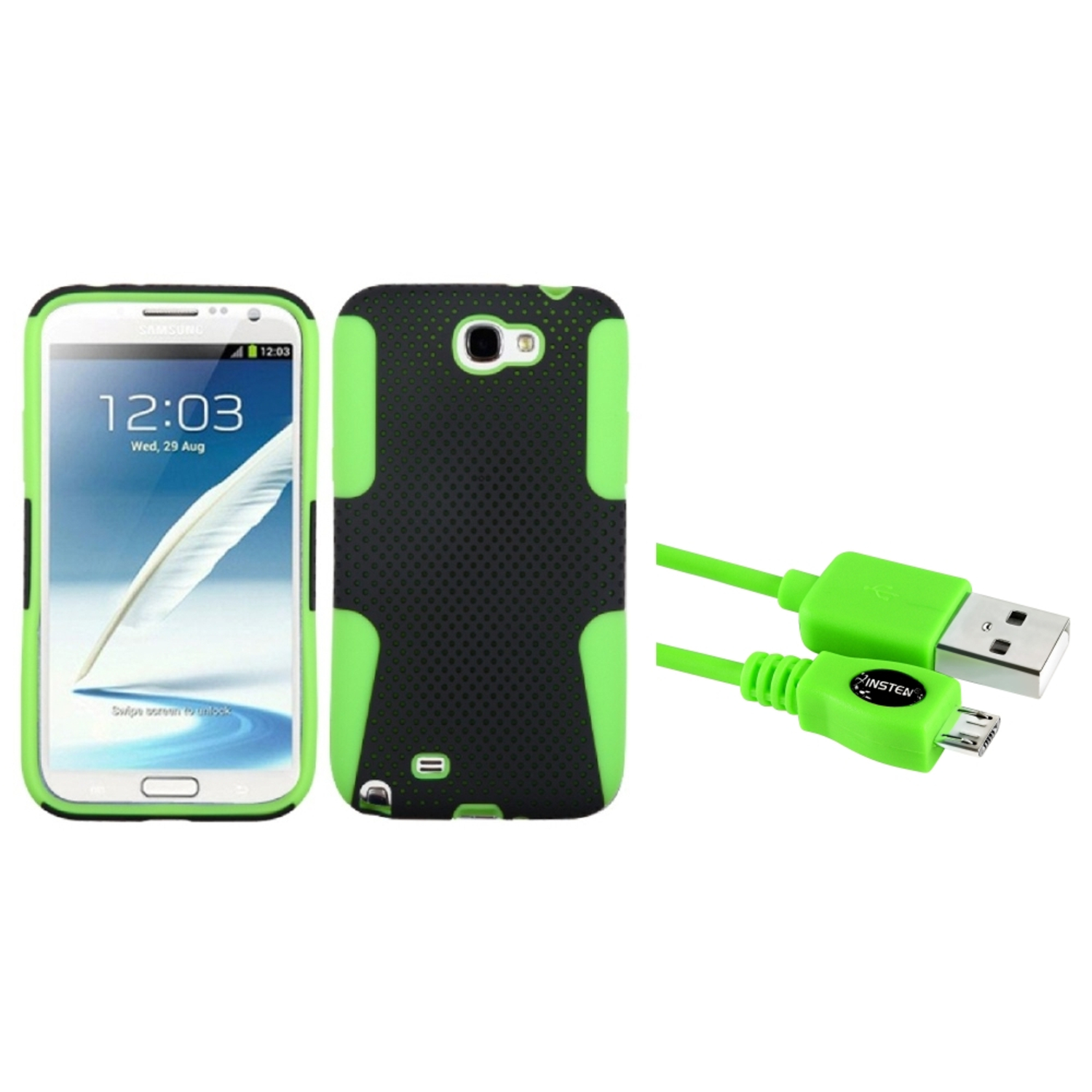 Insten Green/Black Hybrid Case+3FT USB Cord Cable For Samsung Galaxy Note 2 II