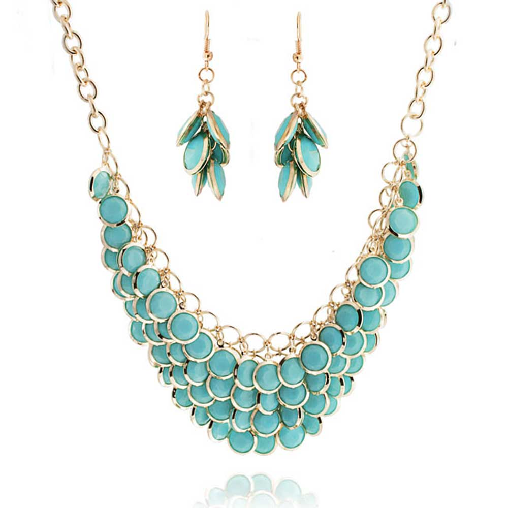 bling jewelry gold plated blue resin cluster statement