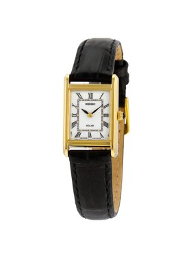 Seiko Women's Solar Stainless Steel Case Leather Strap White Dial Gold Watch - SUP250