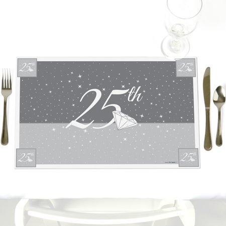 25th Anniversary - Party Table Decorations - Wedding Anniversary Placemats - Set of 12