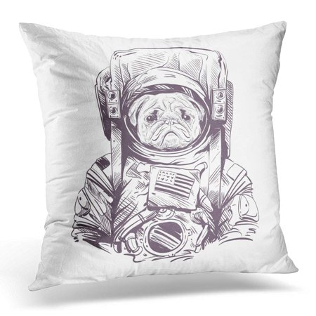 ECCOT Space Pug Dog in Astronaut Suit Hand Drawn Drawing Pillowcase Pillow Cover Cushion Case 20x20 inch