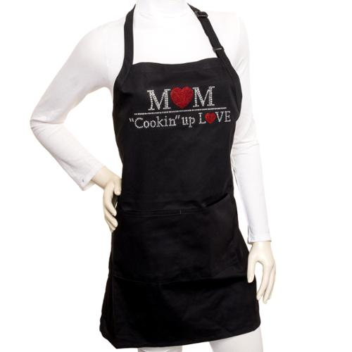 NEW Black Bling Rhinestone Mom Cookin' Up Love Kitchen Cooking Novelty Bib Apron