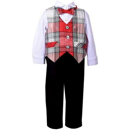 Bonnie Jean Boys Christmas Plaid Vest Pant Set  X12155 12 months
