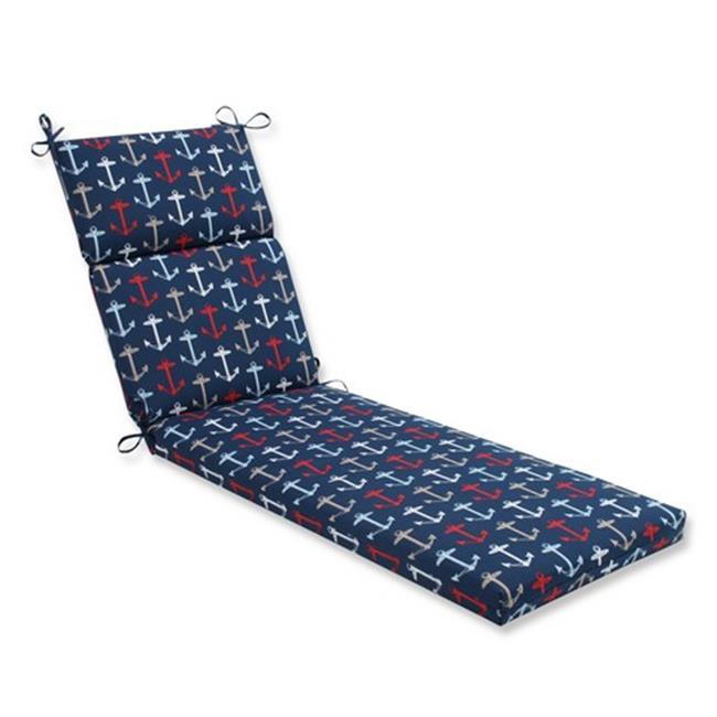 Indoor-Outdoor Anchor Allover Arbor Chaise Lounge Cushion, Navy Blue