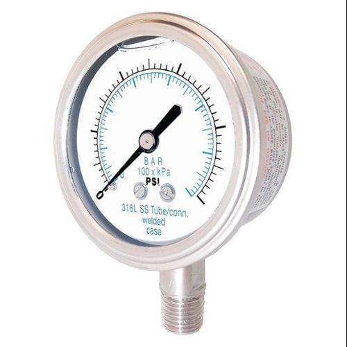 PIC GAUGES 301L-402E Pressure Gauge,Stainless Steel,100 psi