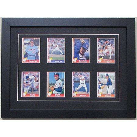 Trading Card Display Frame 8 Cards Black Wood Frame With Matting And Card Mounts Black