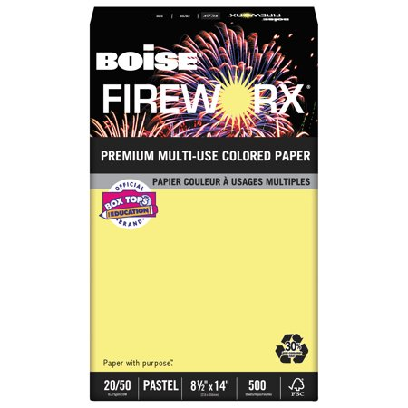 Boise Fireworx Colored Paper  20Lb  8 1 2 X 14  Crackling Canary  500 Sheets Ream